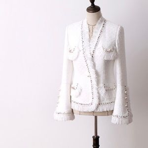 Tweed pearl button jacket small
